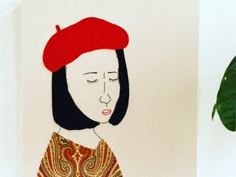 ファブリックパネル  ベレー帽をかぶる女 受注制作の画像