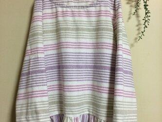 ボーダーインド綿の切り替えワンピースの画像