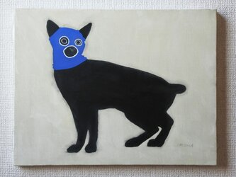 目出し帽のネコ(青) F6サイズ絵画の画像