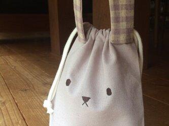 うさぎコップ袋(巾着)ラベンダー※送料無料の画像