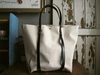ラージサイズ帆布トート 黒レザー イニシャルスタンプ無料の画像