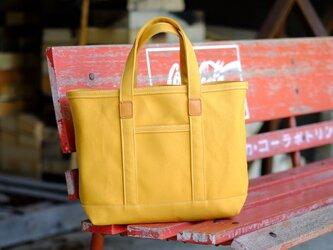革と帆布のトートバッグS マスタード ※受注生産の画像