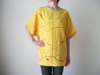 ダブルガーゼ(綿100%)のシャツ(手描き染め・「なみなみ」)の画像