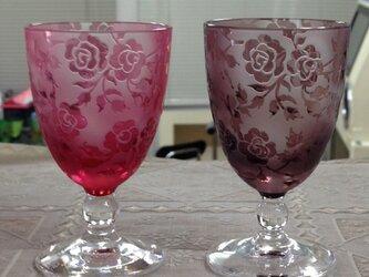 薔薇の玉足ショットグラス(ペア)の画像