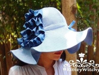 【受注生産】フリルが可愛い大人フレア女優ハット(ブルー×ストライプ)の画像