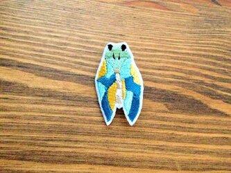 刺繍ブローチ 「ツクツクボウシ」の画像