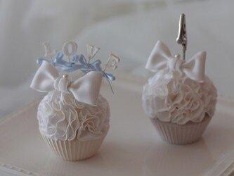 席札・メモクリップ、クレイカップケーキ2個セットの画像