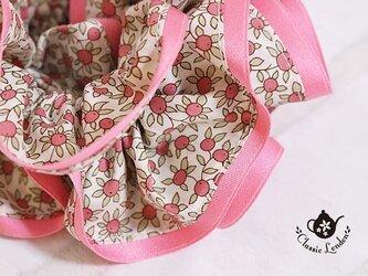 リバティ 甘酸っぱいピンクのクレメンタイン シュシュの画像