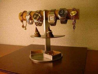 4~6本掛け腕時計ディスプレイスタンド 角トレイ付きの画像