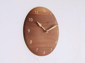 掛け時計 丸 ブラックウォールナット材9の画像