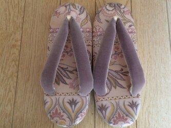 創作草履・Sサイズ 淡いピンクの更紗ふうの画像
