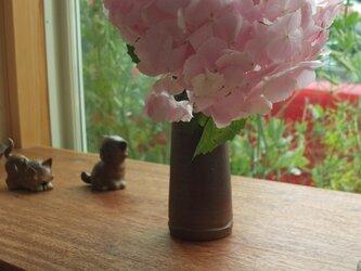 石田育男氏作 備前焼の花入れ壺(花瓶・一輪挿しにも)の画像