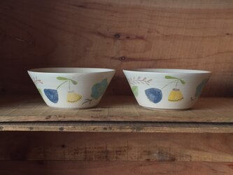 flower bowl -blue&yellow-の画像