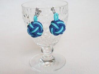 まん丸イヤリング 紺&アクアブルーの画像