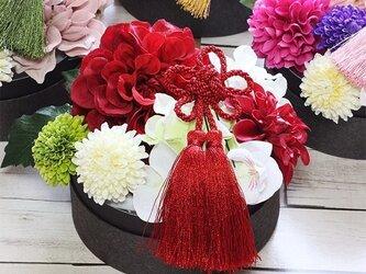 「お正月」ヘッドアクセサリー赤のダリア着物ゆかたの髪飾りの画像