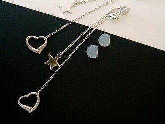 耳に優しい★イヤリング 星&オープンハートの画像