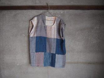 手織り/cotton tops 藍染めと四角 (+orimi)の画像