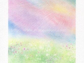 Mariko Hirai シャボン玉アートパステル原画*【わたしの中の虹色の空】の画像
