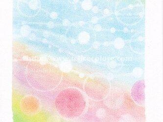 Mariko Hirai シャボン玉アートパステル原画*【ネモフィラの丘】の画像