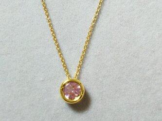 宝石質ピンクトパーズ ベゼルチャームネックレス(6ミリ)の画像