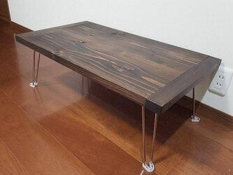 アンティーク調 杉無垢板の 折れ脚テーブルの画像