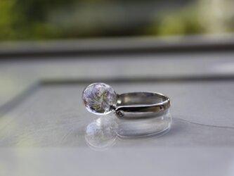 しずく形のプチ蜻蛉玉のリング(うす紫)の画像