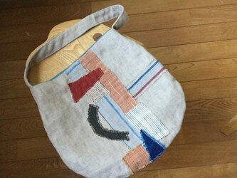 手織り木綿のコラージュバッグの画像