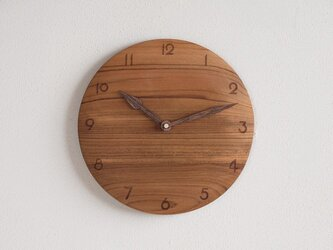 掛け時計 丸 チーク材15の画像