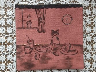 SOLD 朝食タイム猫ポーチ 黒ファスナーの画像