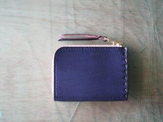 L字ファスナーの小型財布 ネイビー/紺糸/カーキの画像