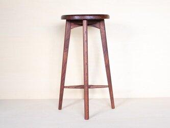 キッチンスツールA・ケヤキ材柿渋アンティーク仕上げ・座は手彫り浮造り仕上げの画像
