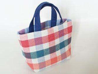 手織りリネン横型トートバッグの画像