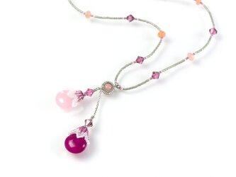 ドロップ ロングネックレス・ローズ・ピンクの画像