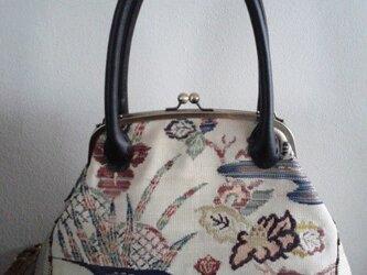 ゴブラン風オリエンタル柄名古屋帯・がま口バッグの画像
