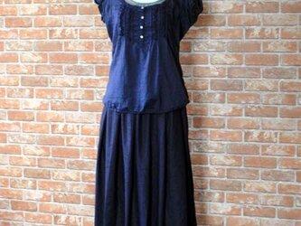 ヨーロッパリネン タックギャザースカート ネイビー 着丈76cmの画像