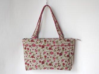 『Ⅰ様ご予約品』リネンのバッグ 赤いバラの画像