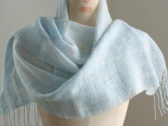 手織り 水色の麻ストールの画像