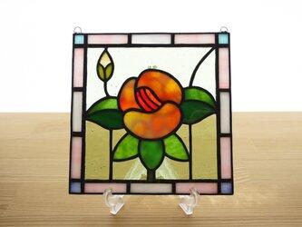 ステンドグラス ミニパネル フラワー・オレンジ系 15cmの画像