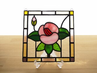 ステンドグラス ミニパネル フラワー・ピンク系 15cmの画像