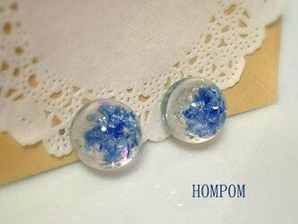 琉球ガラスのまんまるイヤリング ホムポムの画像