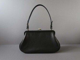 plain gama hand bag -round (black)の画像