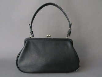 plain gama hand bag -round (black)の画像