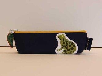 カエルのペンケース(青)の画像