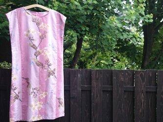 寛斎の浴衣地(新反)のフレンチスリーブワンピース ピンクの画像