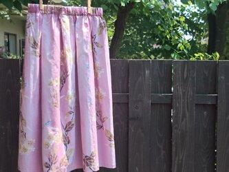 寛斎の浴衣地(新反)のタック入りギャザースカートピンクの画像