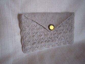 ライトグレーかぎ針編み小物入れ(通帳入れ)の画像