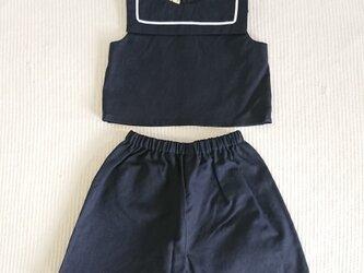 麻混キッズマリンシャツ (90サイズ)の画像