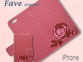 iPhone オリジナルプリント 手帳型スマホケース (薔薇・縞)の画像