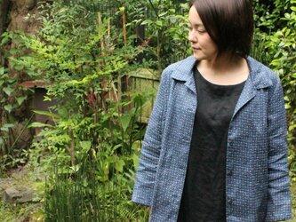 トラッド小紋のリネンシャツジャケットの画像