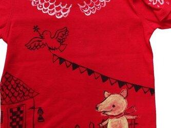特注 コブタのお散歩 赤いシャツの画像